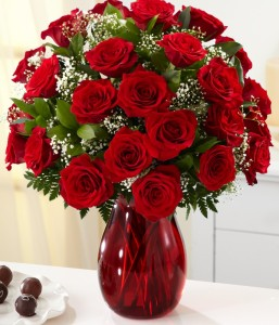 24 Red Roses with Greens in a Vase